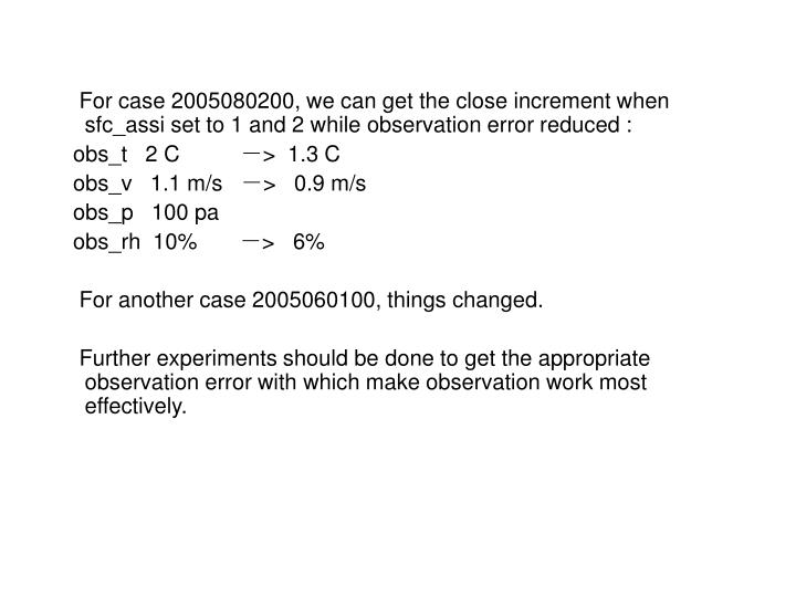 For case 2005080200, we can get the close increment when sfc_assi set to 1 and 2 while observation error reduced :
