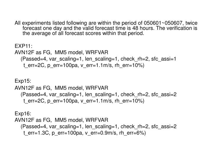 All experiments listed following are within the period of 050601~050607, twice forecast one day and the valid forecast time is 48 hours. The verification is the average of all forecast scores within that period.