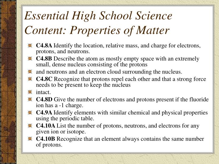 Essential High School Science Content: Properties of Matter