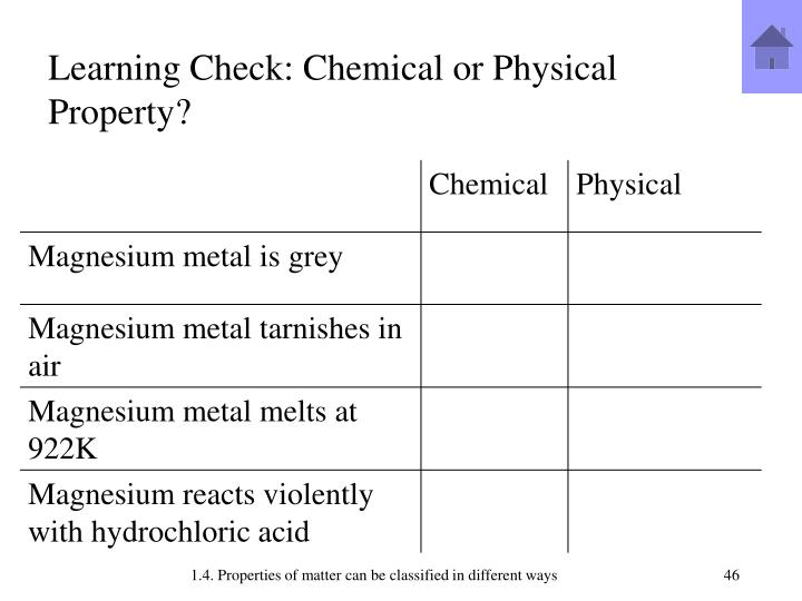 Learning Check: Chemical or Physical Property?