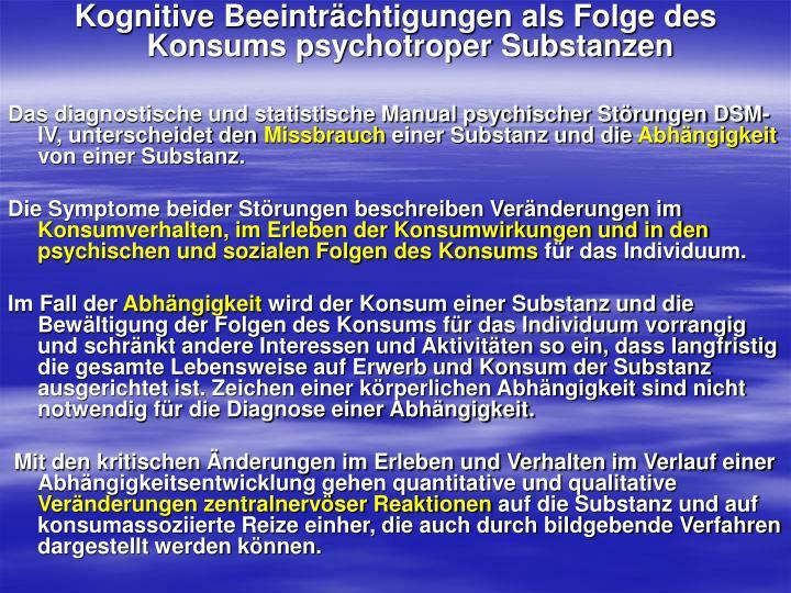 Kognitive Beeinträchtigungen als Folge des Konsums psychotroper Substanzen
