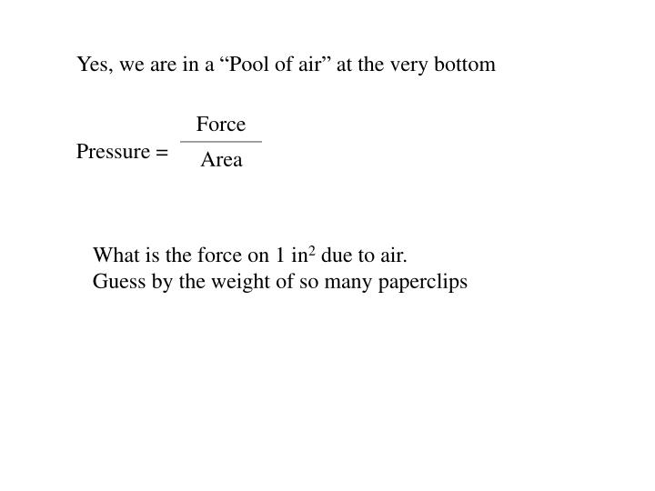 """Yes, we are in a """"Pool of air"""" at the very bottom"""