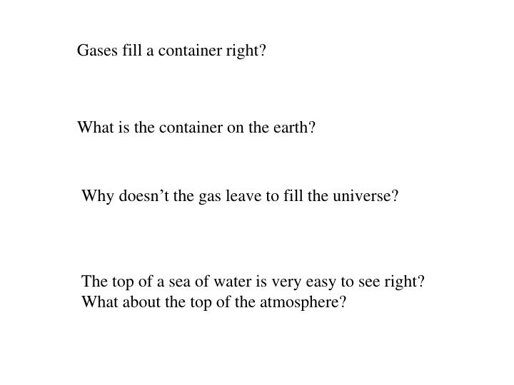 Gases fill a container right?