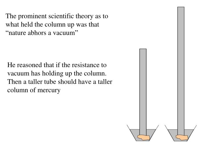 """The prominent scientific theory as to what held the column up was that """"nature abhors a vacuum"""""""