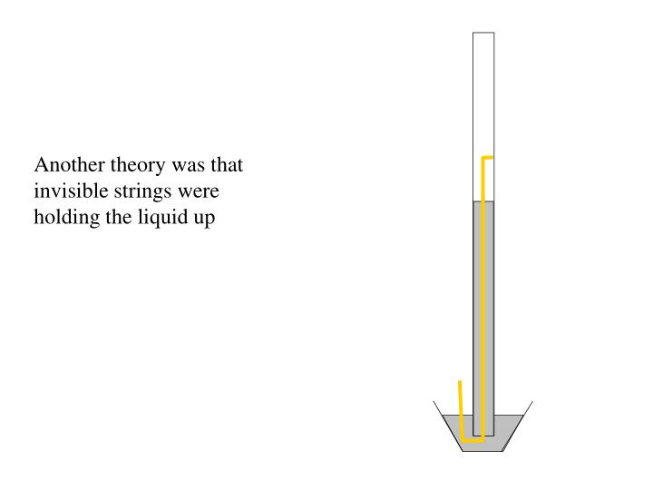 Another theory was that invisible strings were holding the liquid up