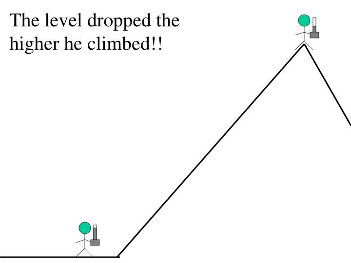 The level dropped the higher he climbed!!