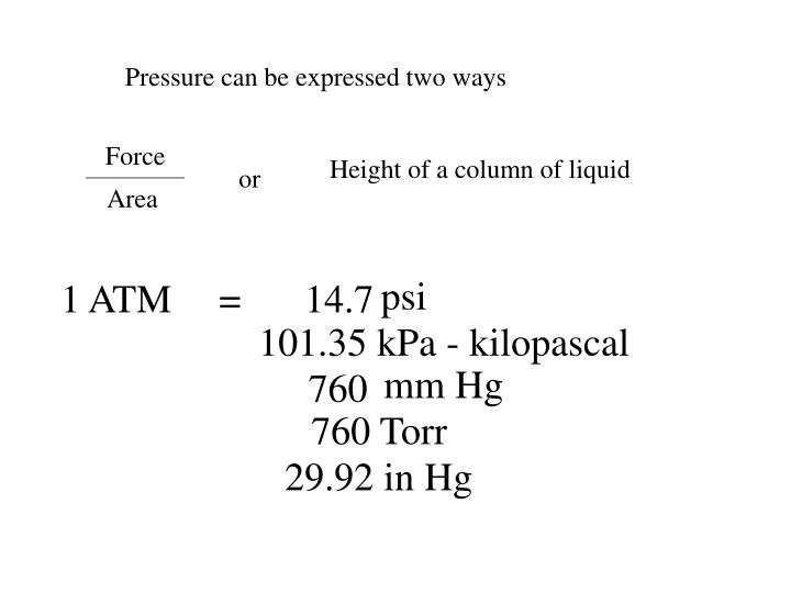 Pressure can be expressed two ways