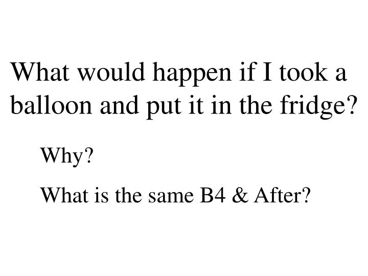What would happen if I took a balloon and put it in the fridge?