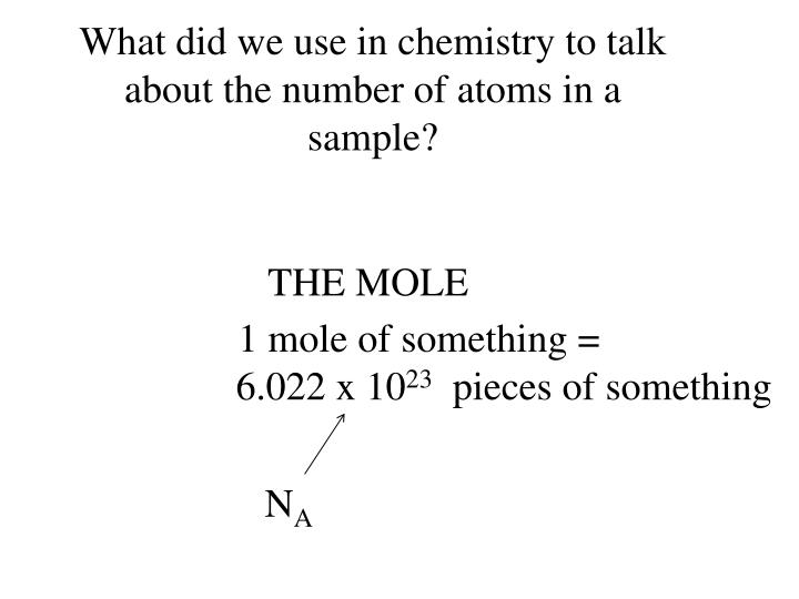 What did we use in chemistry to talk about the number of atoms in a sample?