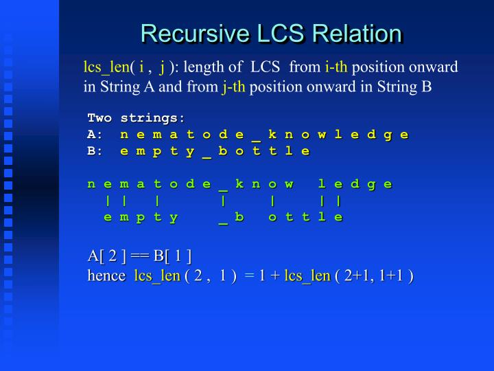 Recursive LCS Relation