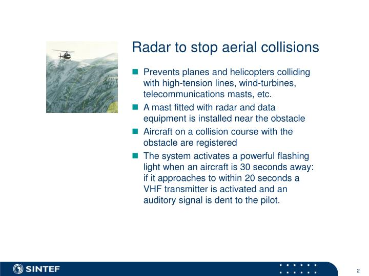 Radar to stop aerial collisions