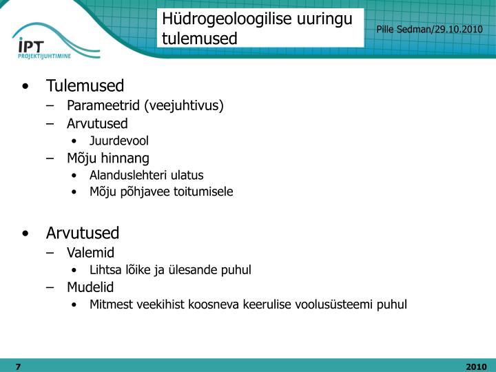 Hüdrogeoloogilise uuringu tulemused
