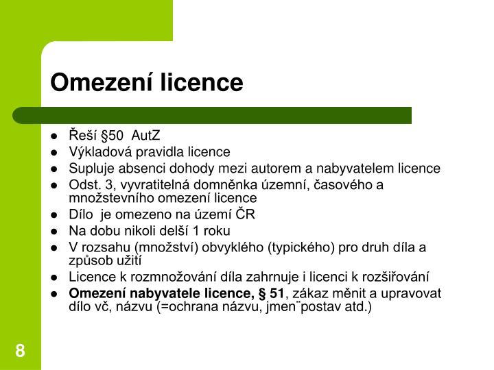 Omezení licence