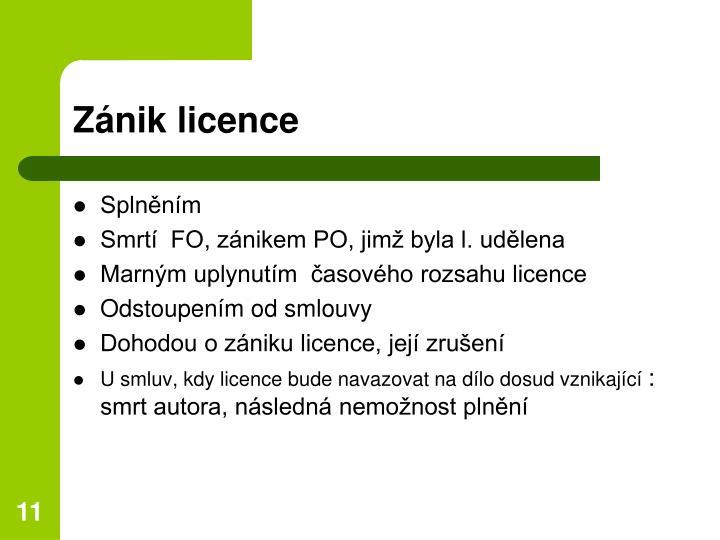 Zánik licence