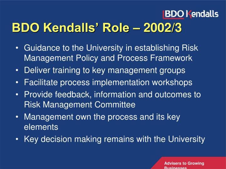 BDO Kendalls' Role – 2002/3