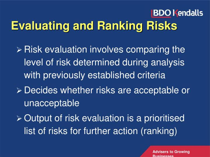 Evaluating and Ranking Risks