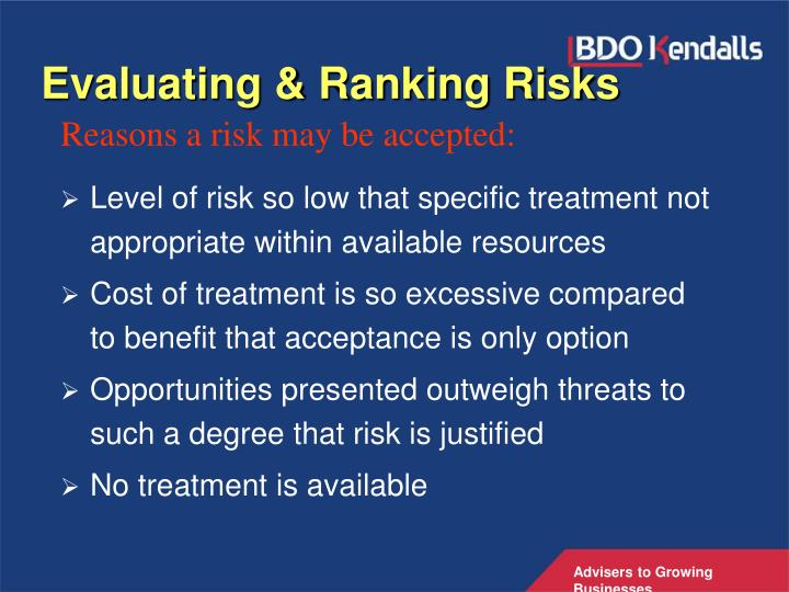 Evaluating & Ranking Risks