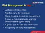 risk management is not