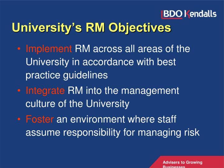 University's RM Objectives