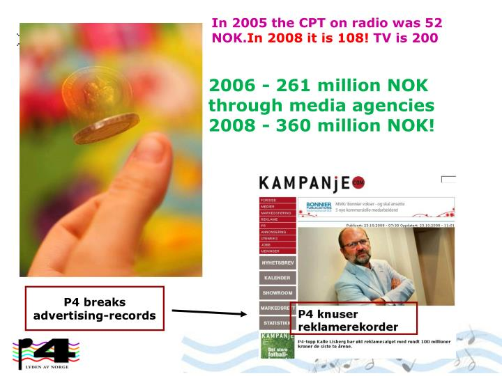 In 2005 the CPT on radio was 52 NOK.
