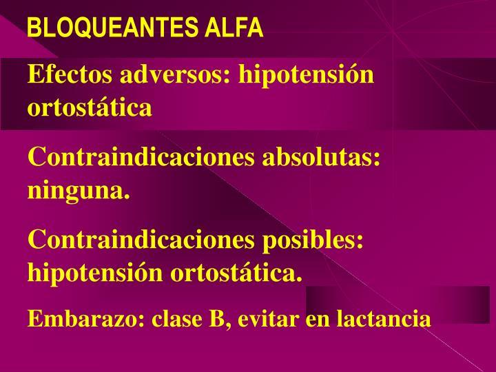 Efectos adversos: hipotensión ortostática