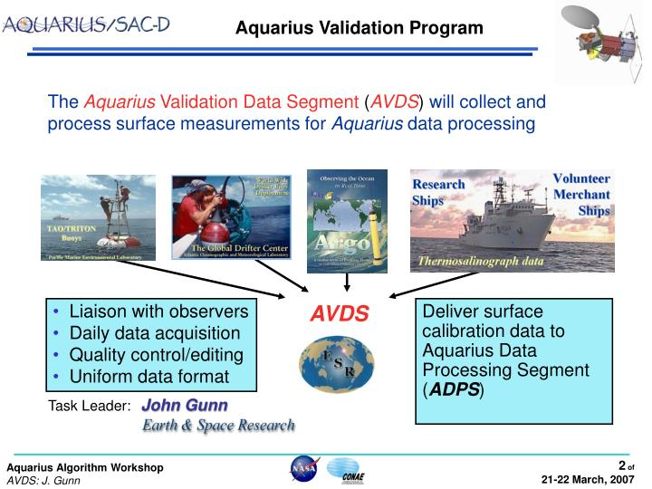 Aquarius validation program
