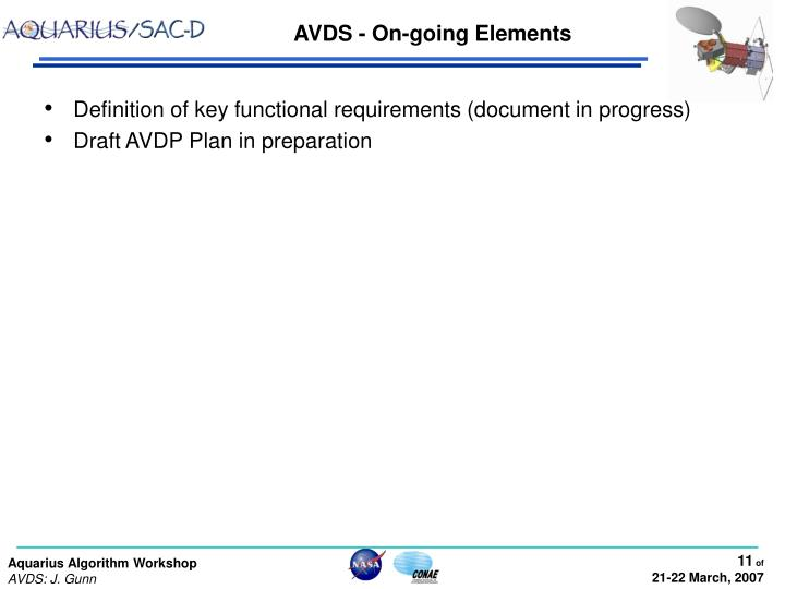 AVDS - On-going Elements