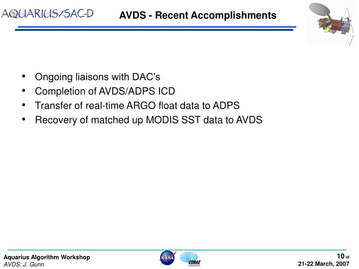 AVDS - Recent Accomplishments