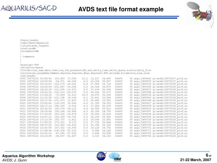 AVDS text file format example