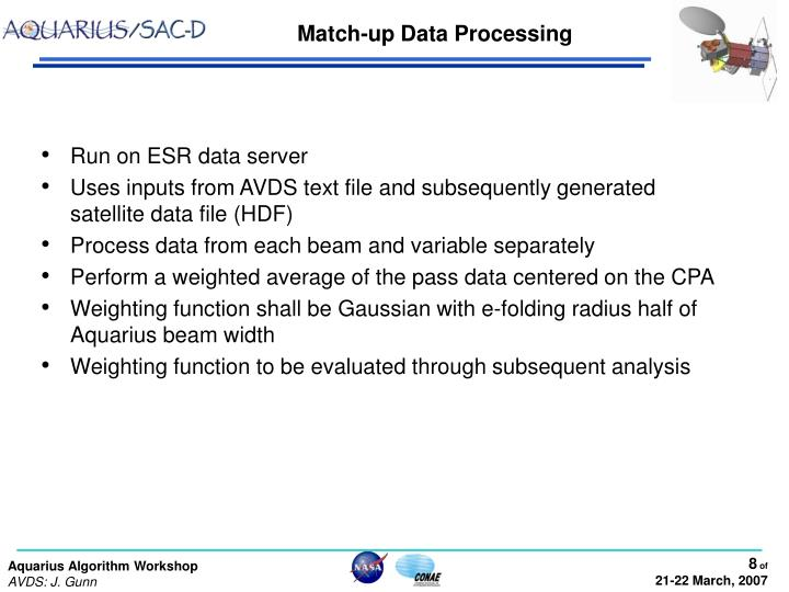 Match-up Data Processing