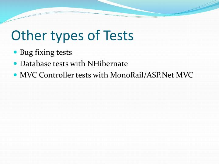 Other types of Tests