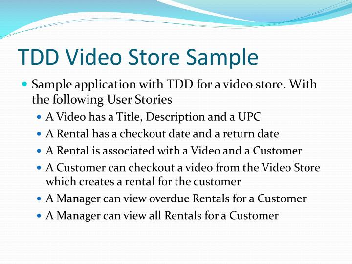 TDD Video Store Sample