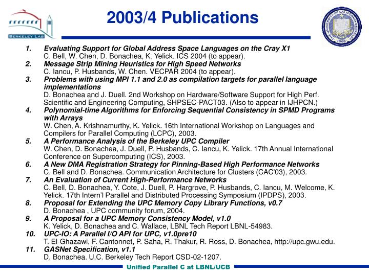 2003/4 Publications