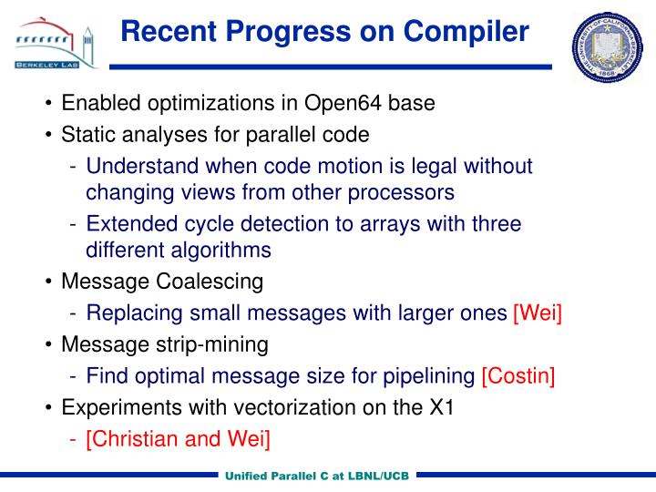 Recent Progress on Compiler