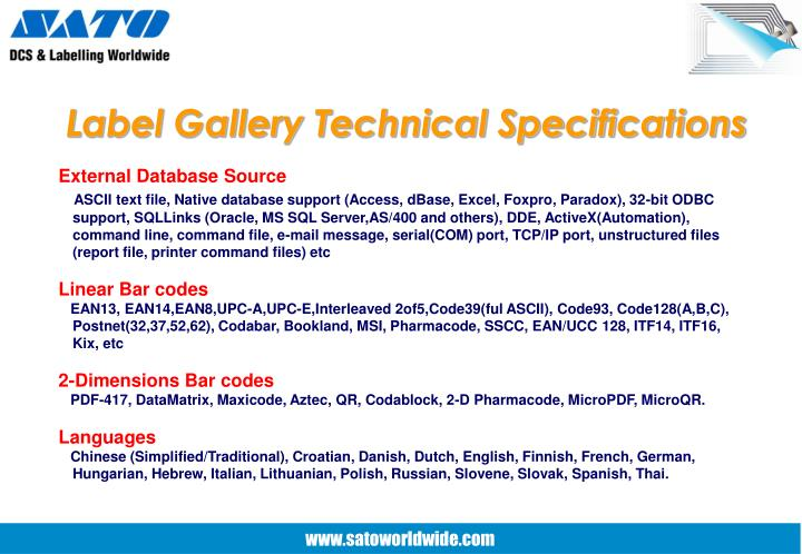 Label Gallery Technical Specifications