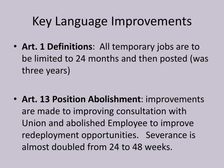 Key Language Improvements