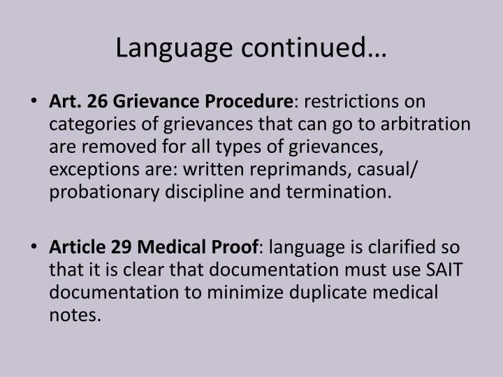 Language continued…