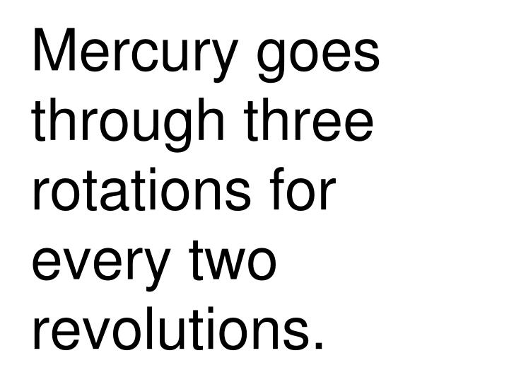 Mercury goes through three rotations for every two revolutions.