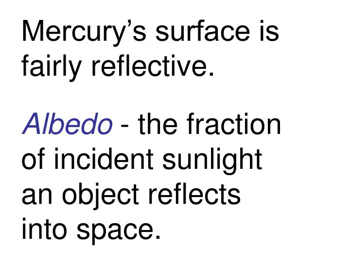 Mercury's surface is fairly reflective.