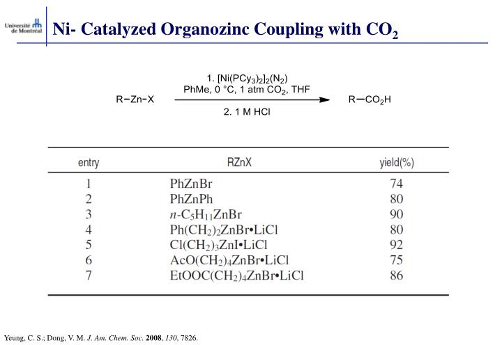 Ni- Catalyzed Organozinc Coupling with CO