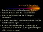 asteroid positions
