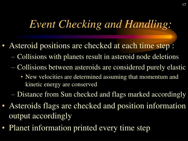 Event Checking and Handling: