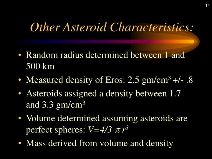 Other Asteroid Characteristics: