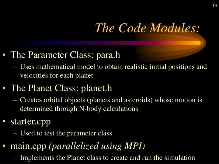 The Code Modules: