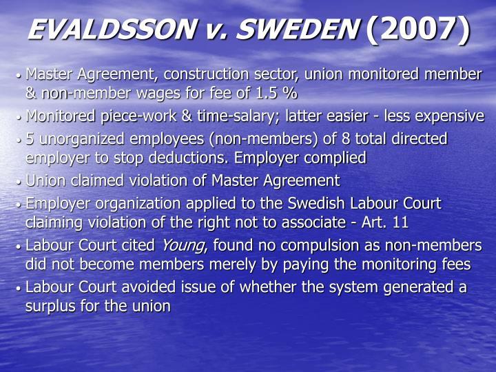 EVALDSSON v. SWEDEN