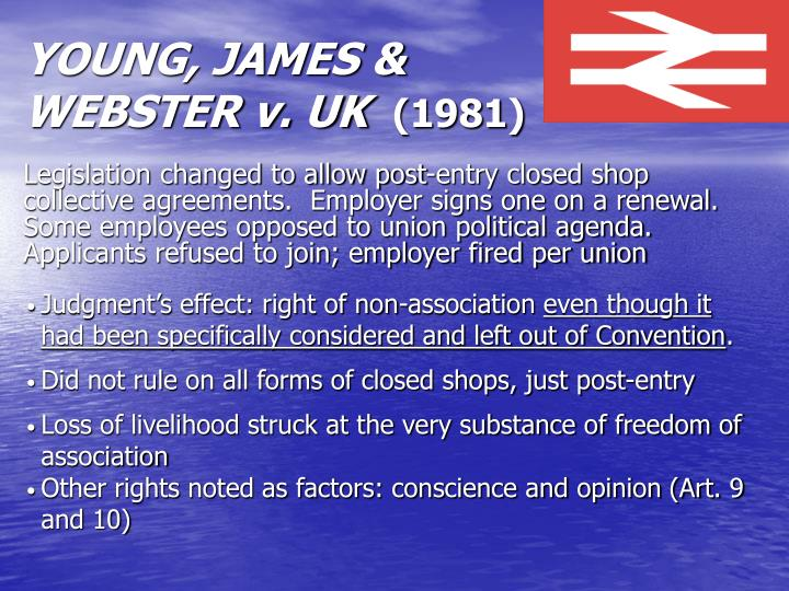 YOUNG, JAMES & WEBSTER v. UK