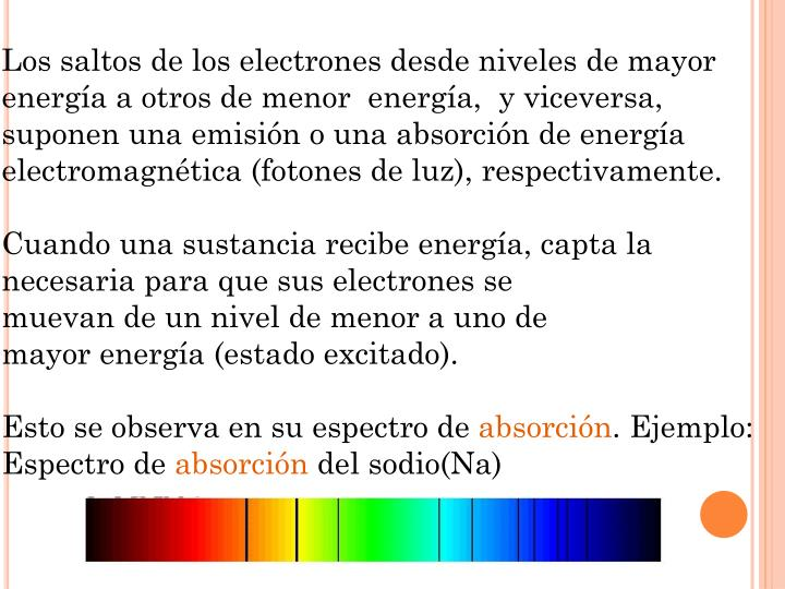 Los saltos de los electrones desde niveles de mayor energía a otros de menor  energía,  y viceversa,  suponen una emisión o una absorción de energía electromagnética (fotones de luz), respectivamente.