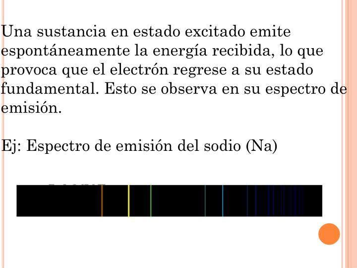Una sustancia en estado excitado emite espontáneamente la energía recibida, lo que provoca que el electrón regrese a su estado fundamental. Esto se observa en su espectro de emisión.