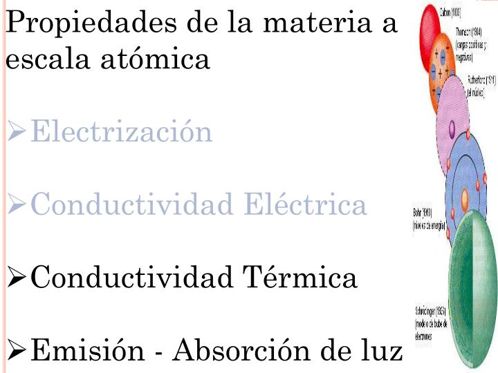 Propiedades de la materia a escala atómica