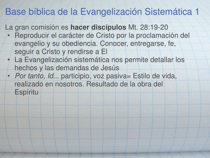 Base bíblica de la Evangelización Sistemática 1